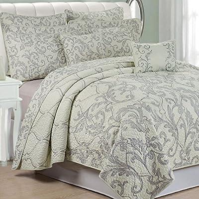 "Serenta 7 Piece Printed Microfiber Bedspread Set, King, Marisol Gray - King Coverlet: 102"" x 90"" (2) King Shams - 20"" x 36"" + 2"" (2) Euro Shams - 26"" x 26"" - comforter-sets, bedroom-sheets-comforters, bedroom - 61KwbtjboDL. SS400  -"