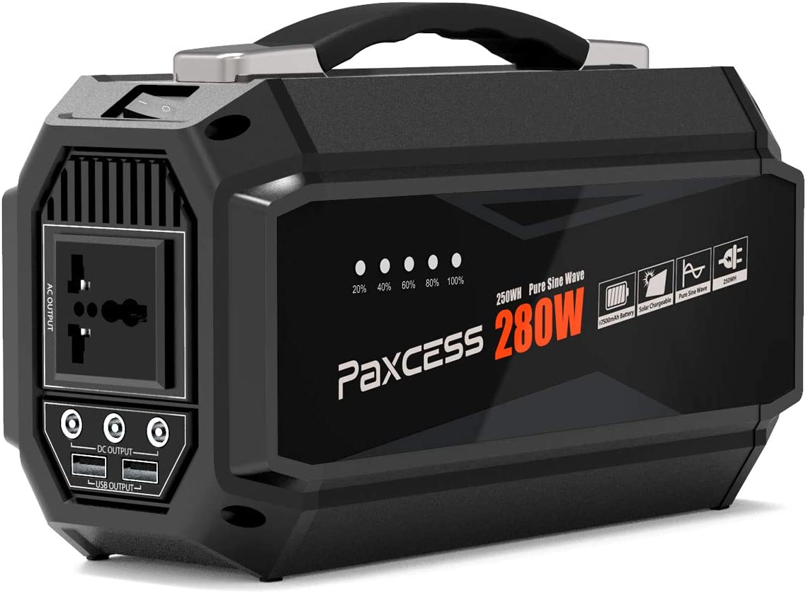 PAXCESS Portable Power Station, 280W 67500mAh Portable Generator with 110V AC Pure Sine Wave, 12.6V DC Ports,5V 3.1AUSB, CPAP Battery Power Supply, Solar Generator for Home Emergency Renewed