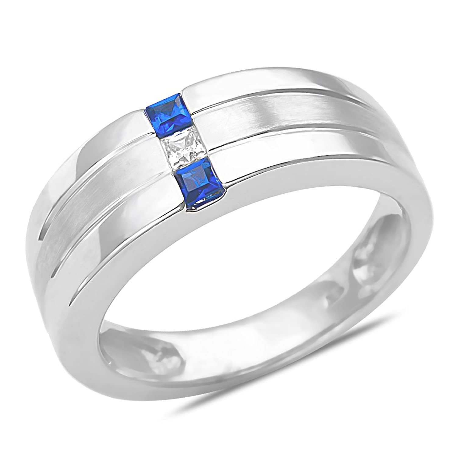 Amazon Men s 1 12CT Diamond & Sapphire Wedding Band 10k White