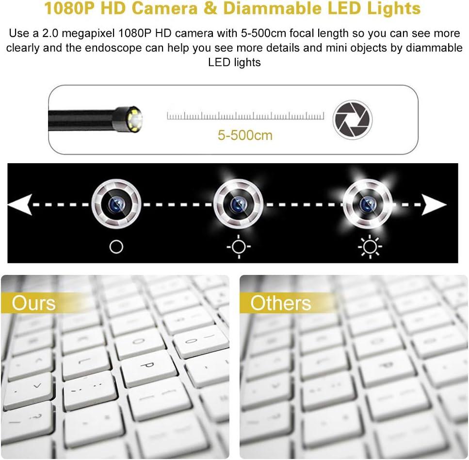 Carga USB 2600mAh IP67 C/ámara de Inspecci/ón Flexible semirr/ígida para Android//iOS Smart Phone//Tablet-5M Auto-Focus 5.5mm 2MP 1080P Boroscopio con Zoom y 6 Leds NEKAN Endoscopio inal/ámbrico