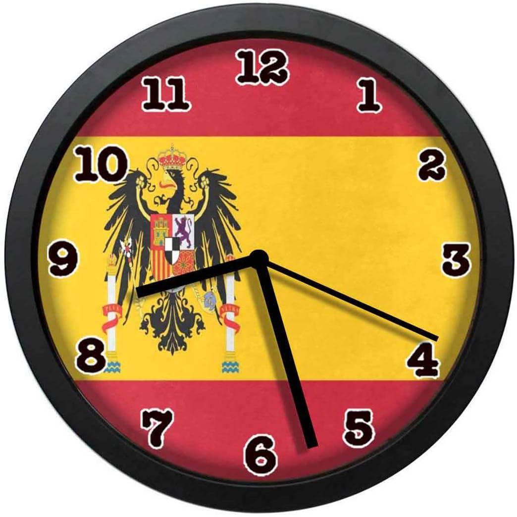 jiushiyigezi-n - Reloj de Pared con diseño de la Bandera de España (Cuarzo, 25,4 cm, con Marco), diseño Moderno: Amazon.es: Hogar