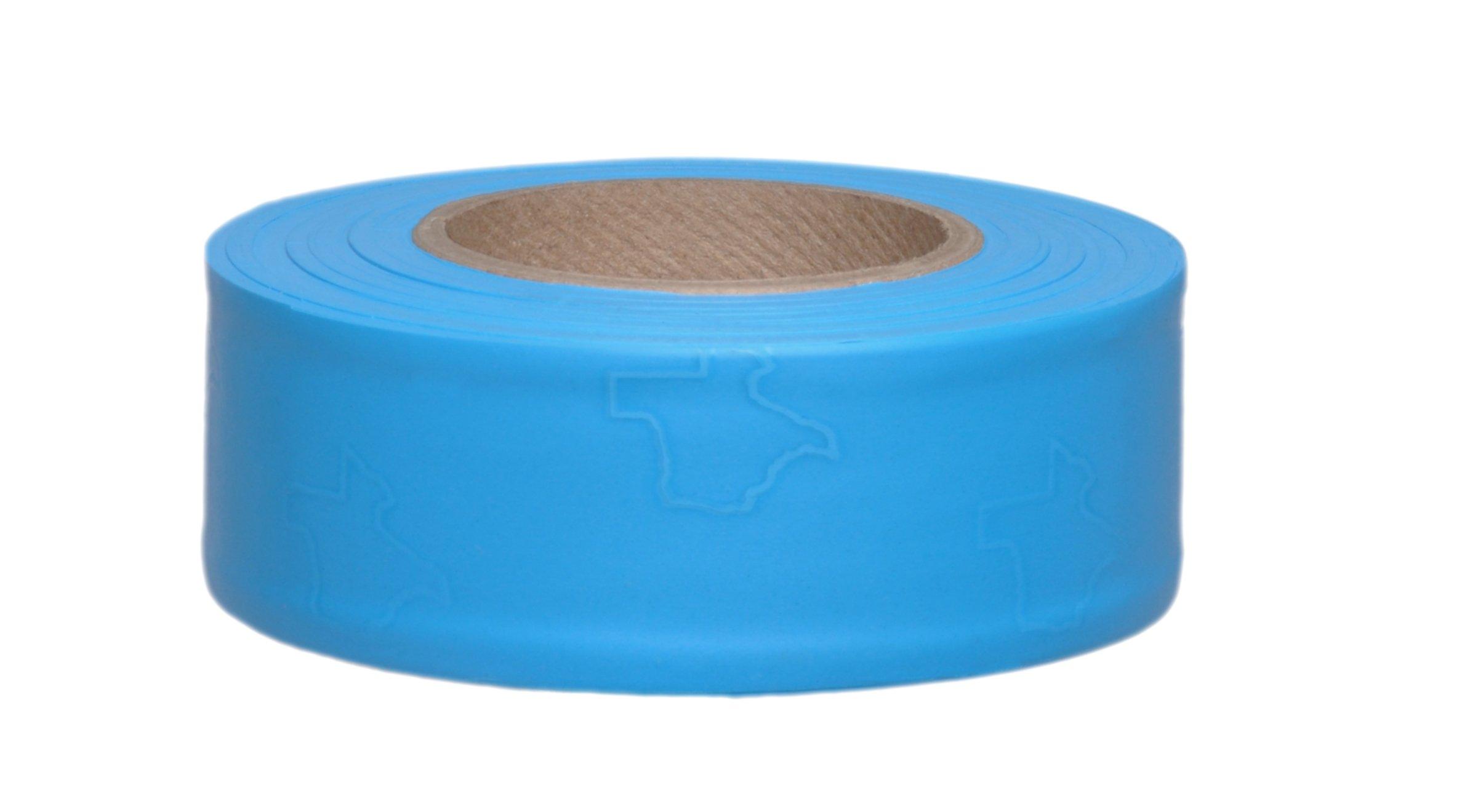 Presco TXBG-658 150' Length x 1-3/16'' Width, PVC Film, Texas Blue Glo Solid Color Roll Flagging (Pack of 144)