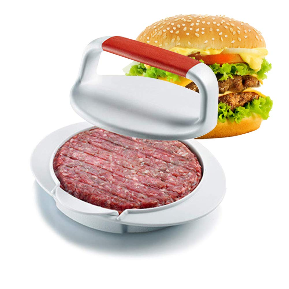 Non-Stick Burger Press with Handle Hamburger Maker Mould Machine Set Mold Round BBQ Patty Regular Beef Maker for Barbecue Grill Camp Works Best for Burger Making Kit Kitchen & Grilling Accessories by MeetLover