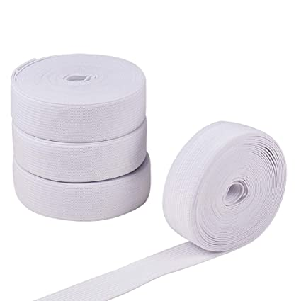 BENECREAT 4 Yards 100mm Wide White and Black Patterned Waistband Elastic Bands for Sewing Project 2 Yards//Color