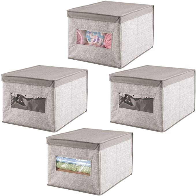 mDesign Caja organizadora con tapa para cambiador – Magnífica caja de tela jaspeada, ideal para organizar armarios ...