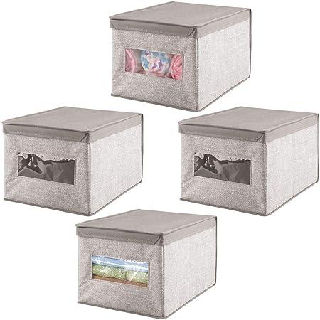 mDesign Caja organizadora con tapa para cambiador – Magnífica caja de tela jaspeada, ideal para organizar armarios,