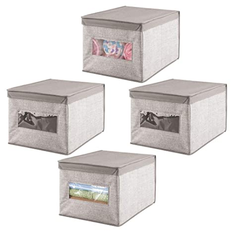 mDesign Caja organizadora con tapa para cambiador – Magnífica caja de tela jaspeada, ideal para
