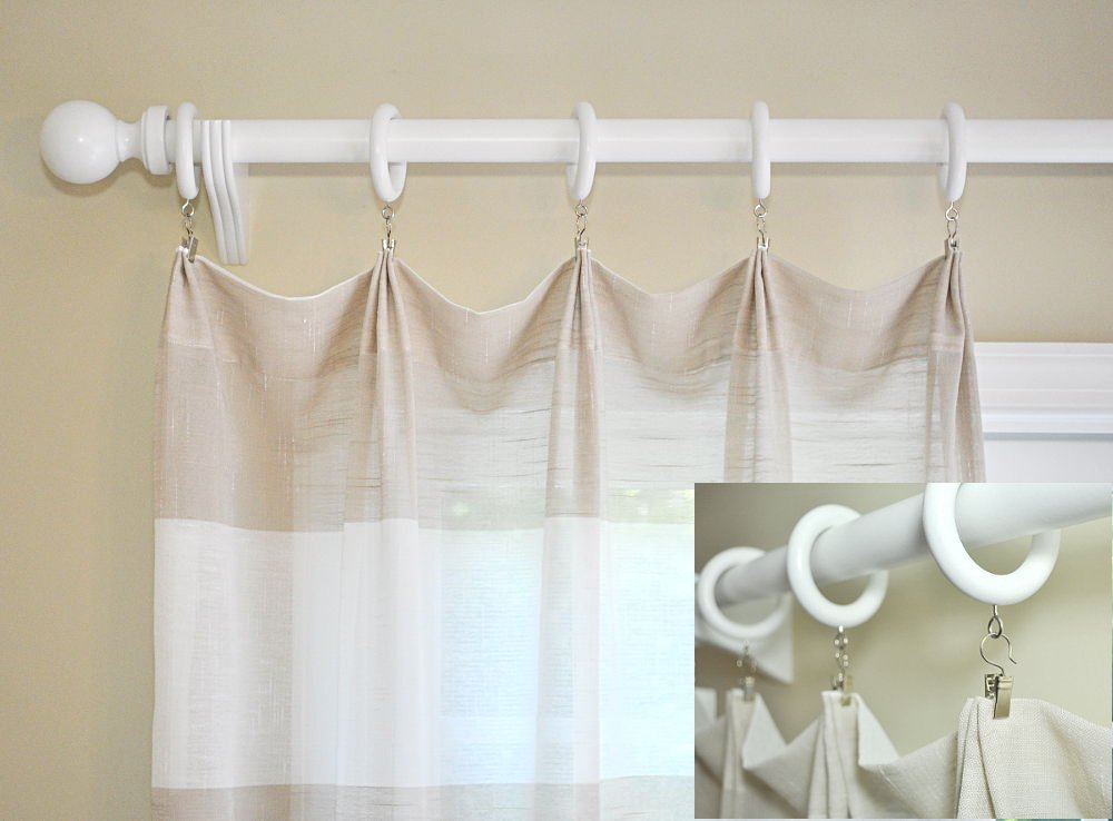 White Wood Curtain Rod Rings with Pinch a Pleat Clips and Ripple Pleat Chains-7 Pack (For a 1 3/8 Pole) by Curtain Rod Connection (Image #7)