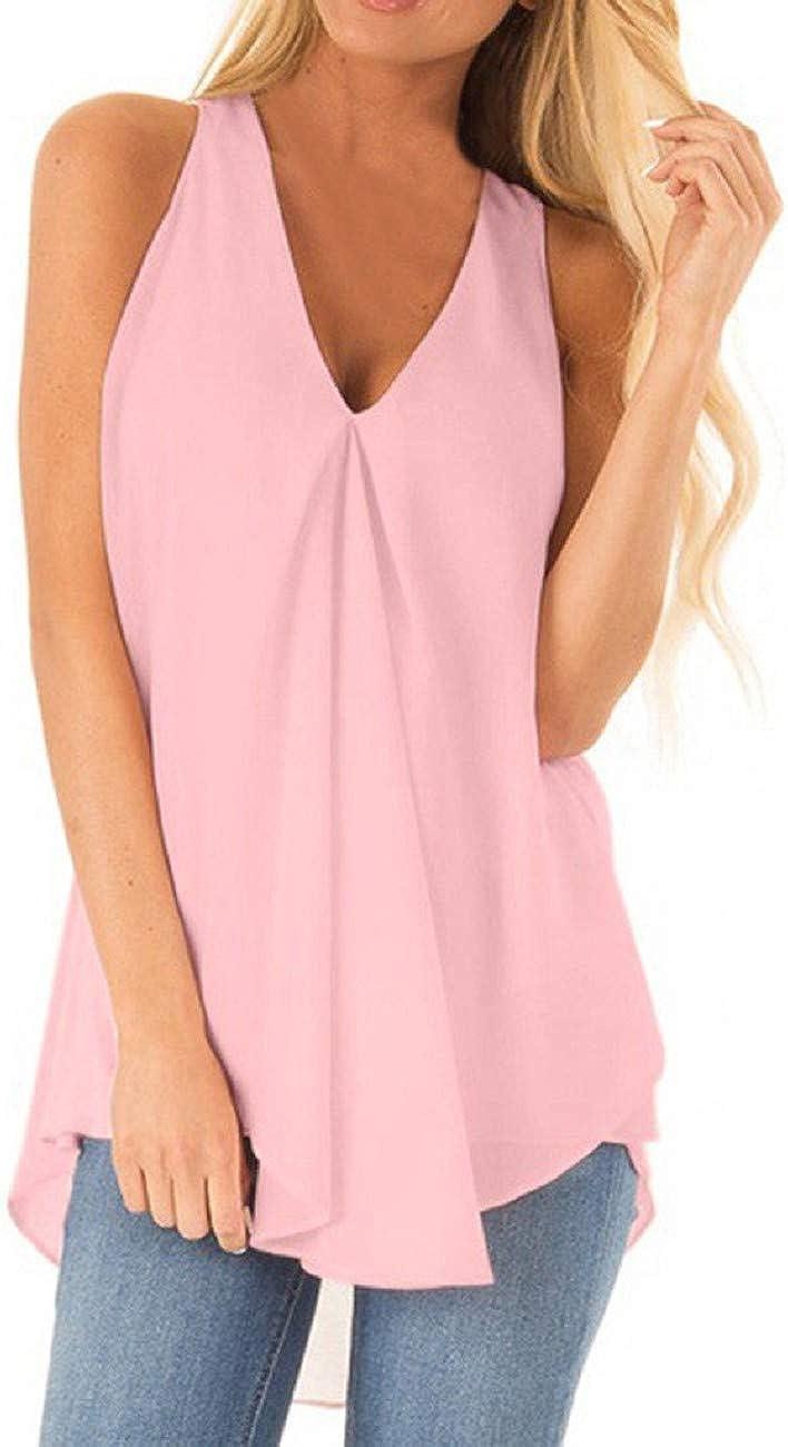 FAPIZI Women Chiffon Tank Top Ruched Sleeveless T-Shirt Fashion V Neck Solid Casual Loose Flowy Summer Blouse