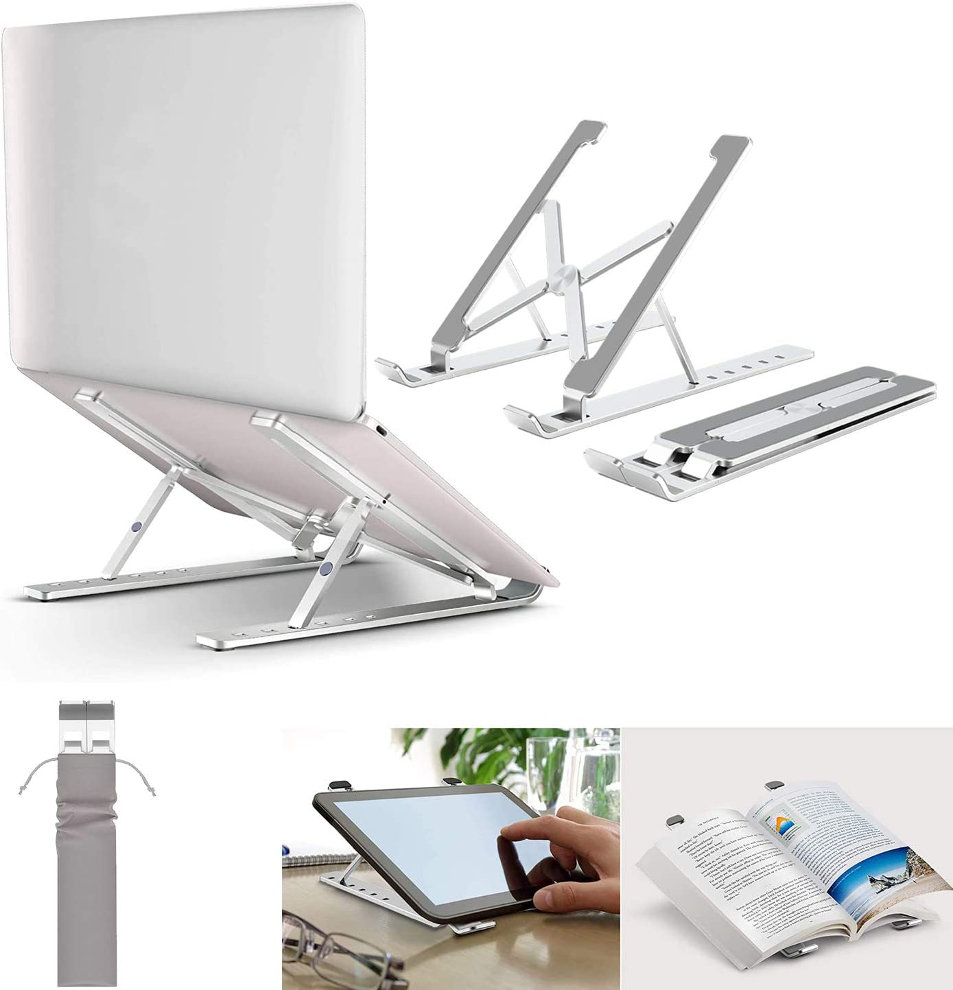 "Ergonomic Laptop Stand,GOODBONG Adjustable Aluminum Laptop Computer Stand Tablet Stand,Ergonomic Foldable Portable Desktop Holder Compatible with MacBook Air Pro, Dell XPS, HP, 10-15.6"" Laptops"