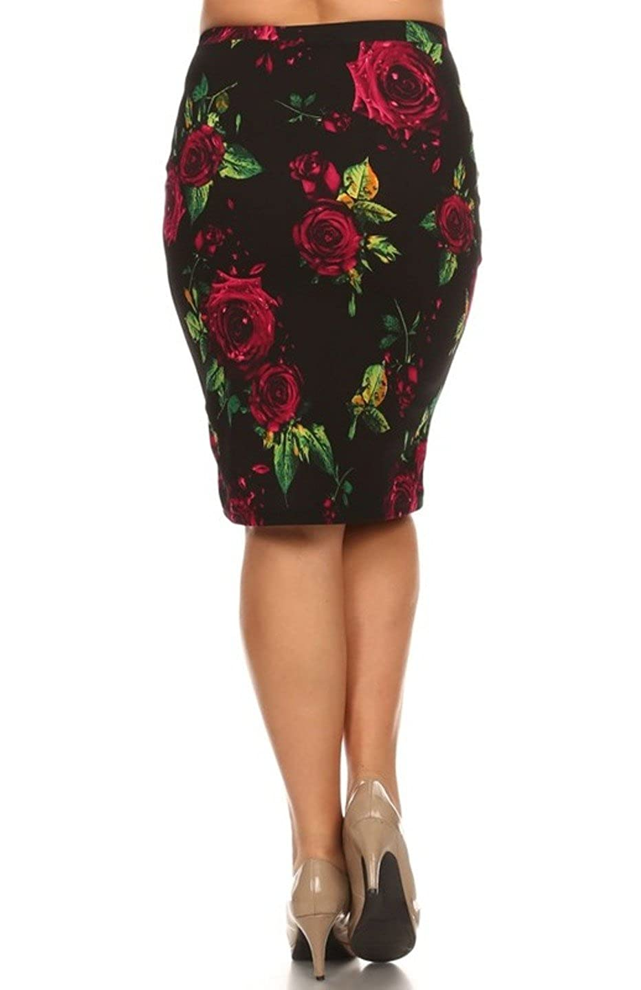 0b8828535f8 2LUV Plus Women s Floral Printed High Waist Fitted Pencil Skirt Black  Purple 2XL at Amazon Women s Clothing store