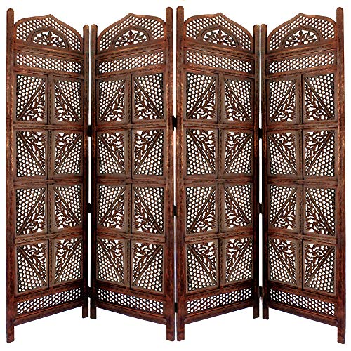 - Benjara BM01866 Traditional Four Panel Wooden Room Divider with Hand Carved Details, Antique Brown,