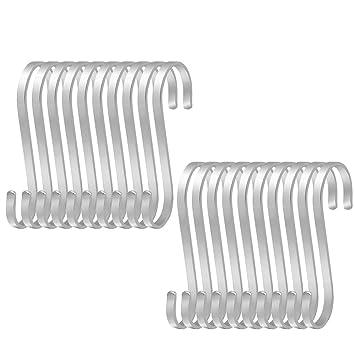 hysagtek 20 pcs grandes de acero inoxidable soporte de S ganchos cocina herramientas resistente en forma