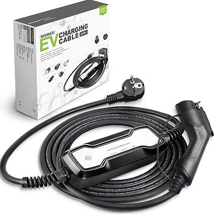 Morec Tipo 1 EV Cargador (estándar Europeo) Schuko 2 Pin ev Cable de Carga conmutable 10/16A Caja de Carga SAE J1772 2.2/3.6kw, 7.5m / 24.6ft