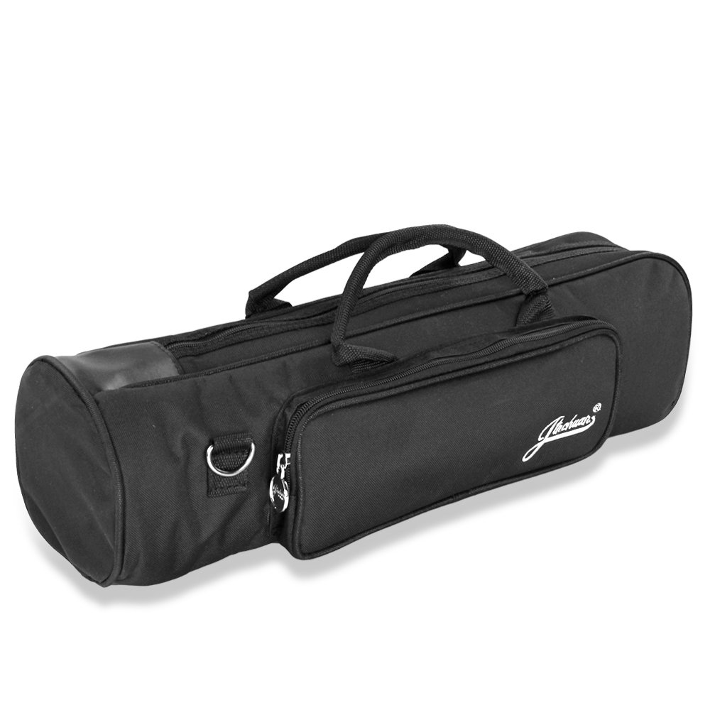Flexzion Senior Trumpet Gig Bag Case Durable Soft Nylon Padded Portable Instrument Accessory with Double Zippers and Adjustable Shoulder Strap in Black TRPET_BAG_BLK