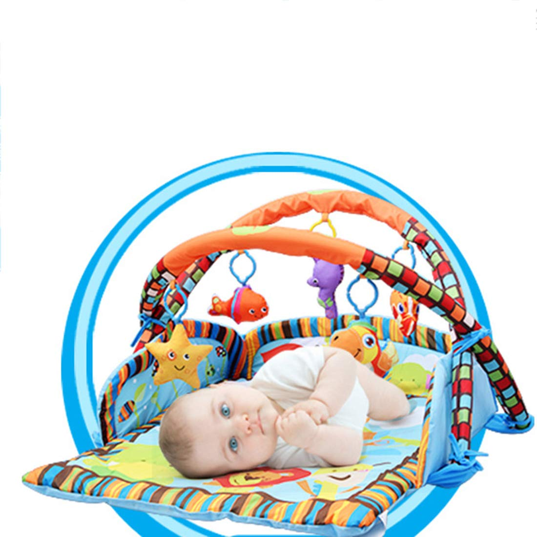 Spieldecke mit Spielbogen Dittzz Baby Krabbeldecke Laufstallfunktion ab Geburt nutzbar,95 x 85cm