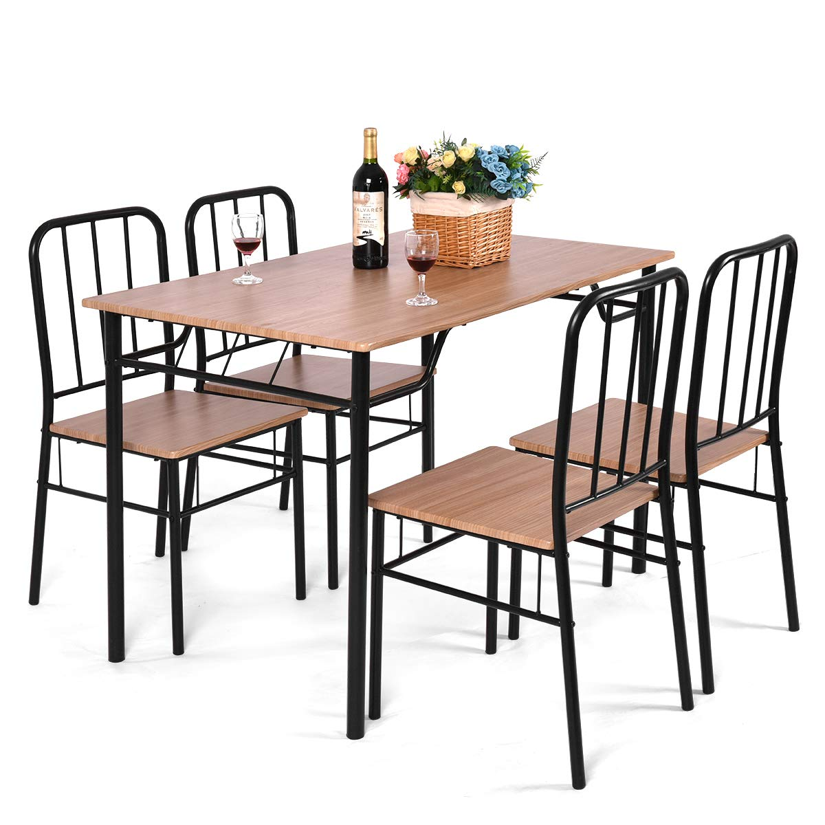 Giantex 5 Piece Dining Set Table and 4 Chairs Metal Wood Home Kitchen Modern Furniture