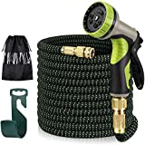 Garden Hose, Water Hose with 100% Solid Brass Valve 9 Function Spray Hose Nozzles, Flexible Expandable Water Hose…