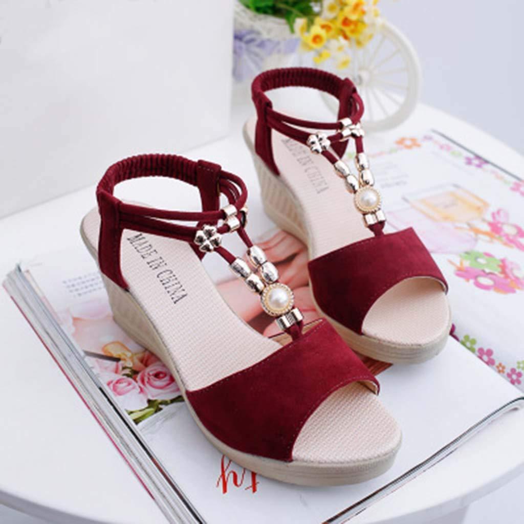 27f66e3b9c2895 Subfamily Sandales compensées Sandales Bout Ouvert Femme Chaussure Mode  Sandale Talon Compensé Plateforme Chaussures de Plage Ballerine ...
