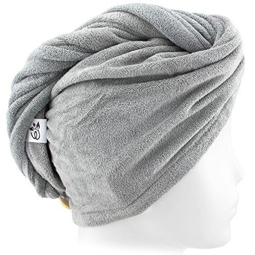 Evolatree Microfiber Hair Towel Wrap - Quick Magic Hair Dry Hat - Anti Frizz Products For Curly Hair Drying Towels - Neutral Gray by Evolatree (Image #8)