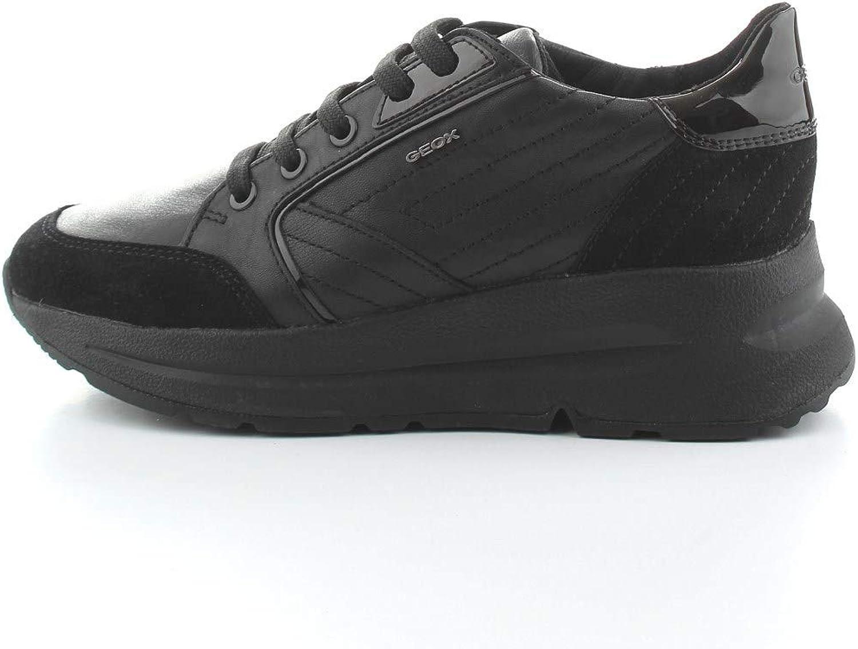 Geox Scarpa Donna BACKSIE Nappa +Suede Nero Sneakers Zeppa D94FLA 08522 C9999
