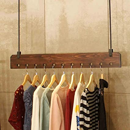 Amazon.com: JHYMJ Coat Hook Shelf Wall-Mounted Solid Wood ...