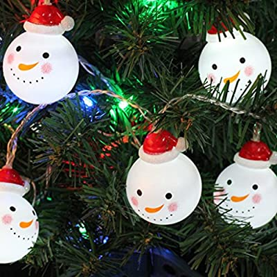 Warm White Christmas Tree Banner and Snowflake 6.6 Feet String Lights for Xmas Garden Patio Bedroom Party Decor Indoor Outdoor Celebration Lighting Snowman Santa Claus