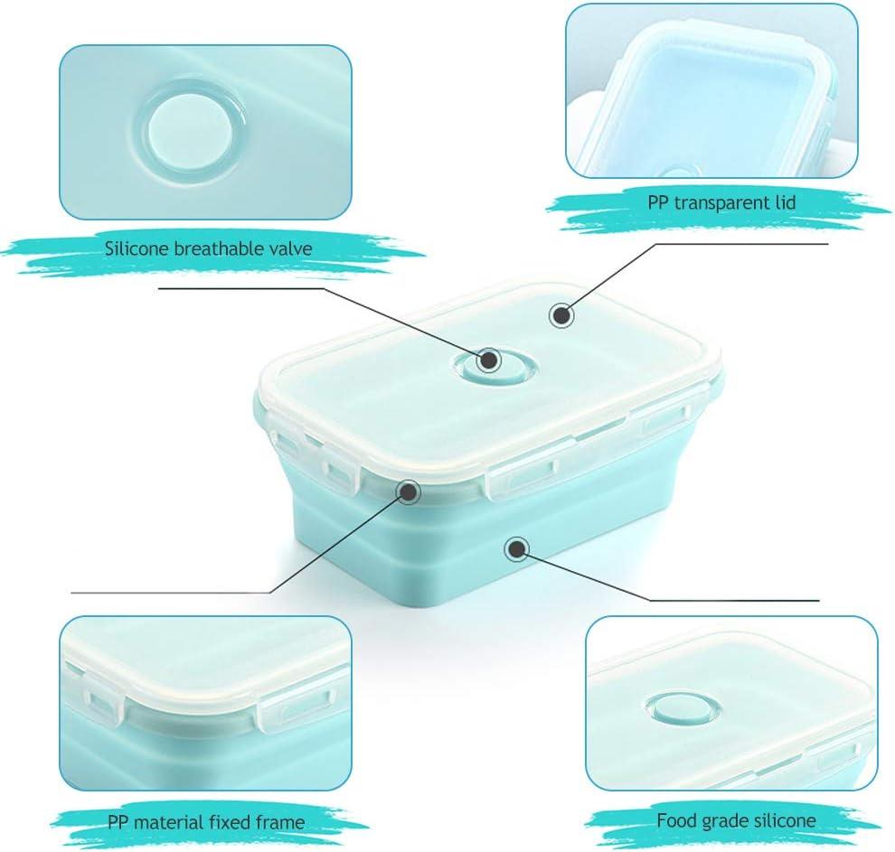 Contenitori Alimentari Silicone Microonde DMFSHI Scatola per Il Pranzo Pieghevole 3 Diverse Dimensioni 3 PCS Scatole da Picnic Salvaspazio Congelatore e Lavastoviglie Colore della Miscela