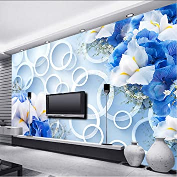 Amazon Com Hwhz Fashionable Interior Design Wallpaper 3d Stereo Fantasy Blue Flowers Circle Photo Mural Living Room Tv Sofa Backdrop Wall Decor 350x250cm Furniture Decor