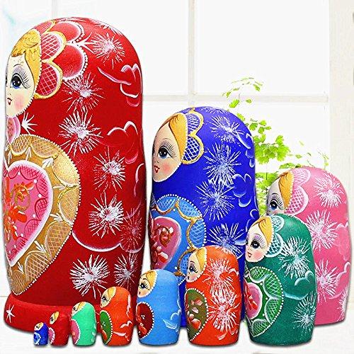 LK King&Light 10pcs R Heart-shaped pattern Wooden nesting toys Russian dolls Matryoshka stacking dolls