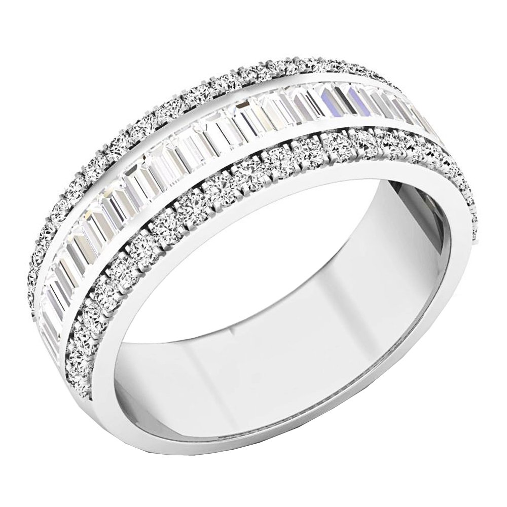 1.60 Carat (ctw) 14K White Gold Round & Baguette Diamond Mens Anniversary Wedding Band (Size 11)