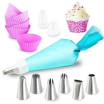 Homtrix Spritztüllen Set mit Spritzbeutel Silikon + 6 Große Tüllen Aufsätze + Cupcake Förmchen + Backset zum Dekorieren und B