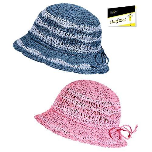 EveryHead Fiebig Sombrero De Verano Equinácea Gorro Rafia Niñas Niños Niña  Dos Colores A Rayas Con 5ae195e8ac0