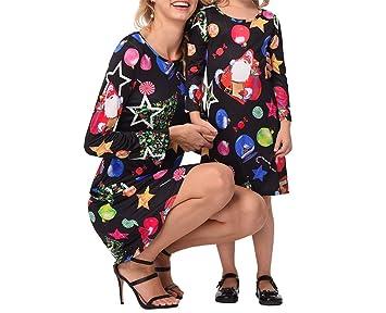 b74211d5bf81 ZHRUI Vestito da Stella di Natale Vestito da Festa per la Mamma e la Figlia  (Colore   Nero