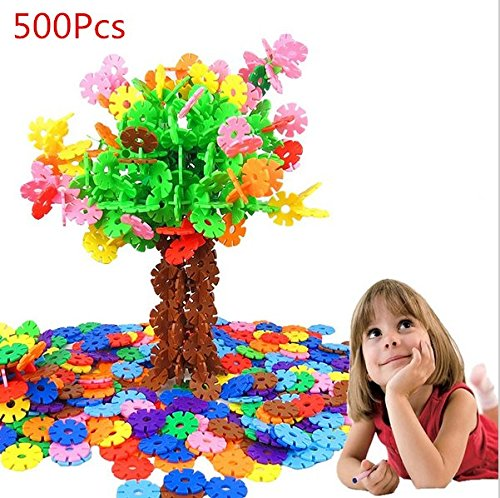 URToys 500Pcs/Set Colorful Snow Snowflake Building Blocks Toy Baby Early Educational Learning Toys Bricks DIY Assembling Christmas Kids Classic Toys