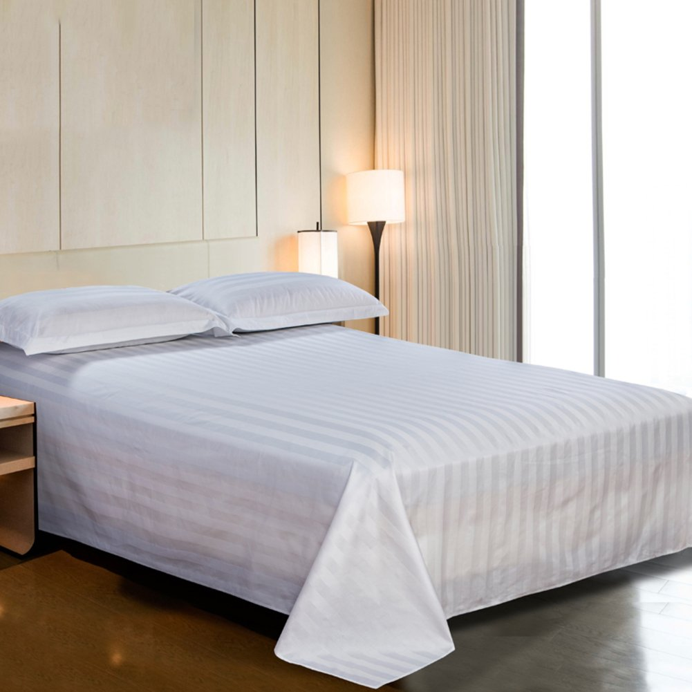 Hotel pure white bed sheets,Soft coverlet cozy hypoallergenic for all seasons 100% cotton queen king size-A 210x240cm(83x94inch)