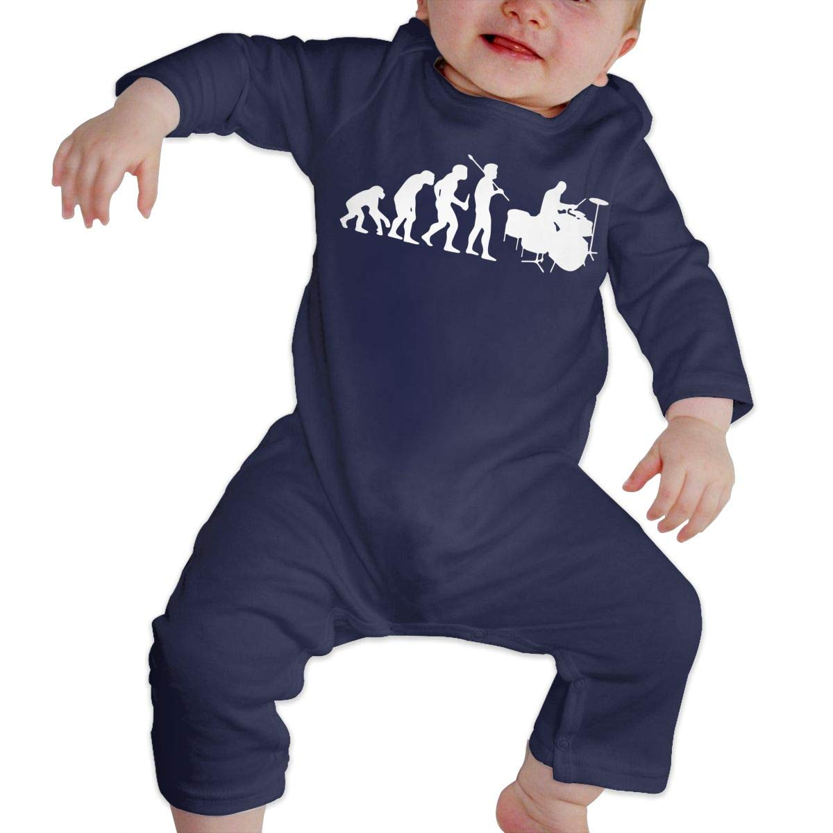 LBJQ8 Drummer Evolution Newborn Kids Baby Boys Organic Cotton Playsuit Outfit Clothes