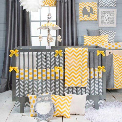 Amazoncom Swizzle Yellow 4 Piece Baby Crib Bedding Set By Sweet