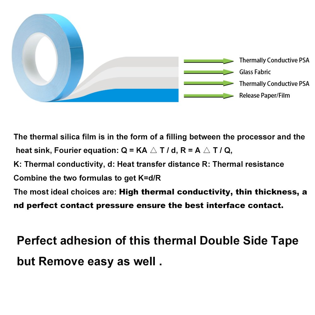 82339dff Amazon.com: Heat Sink Tape (12mmx10 Meters 0.3mm thickness) Double Side  Adhesive Thermal Conductive Tape for Heat Sink Thermal Conductive Tape of  LED Light ...