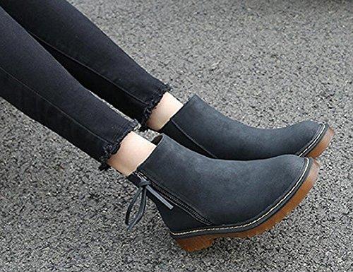 Elastic Band JiYe Heel Boots Ankle Zipper Women's Leather Zipper Low black Shoes xXIgZX