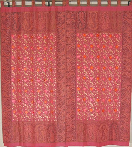 NovaHaat Terra Cotta Embroidered Jamawar Woven Curtain Panels - Decorative Ethnic Indian Window Treatments/Drapes with Large Floral Motifs - Size: 84 Inch x 40 Inch Each ()
