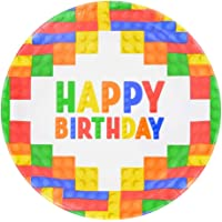 GulfDealz Happy Birthday Building Blocks Design Paper Party Plates (18 Count) - Multi color