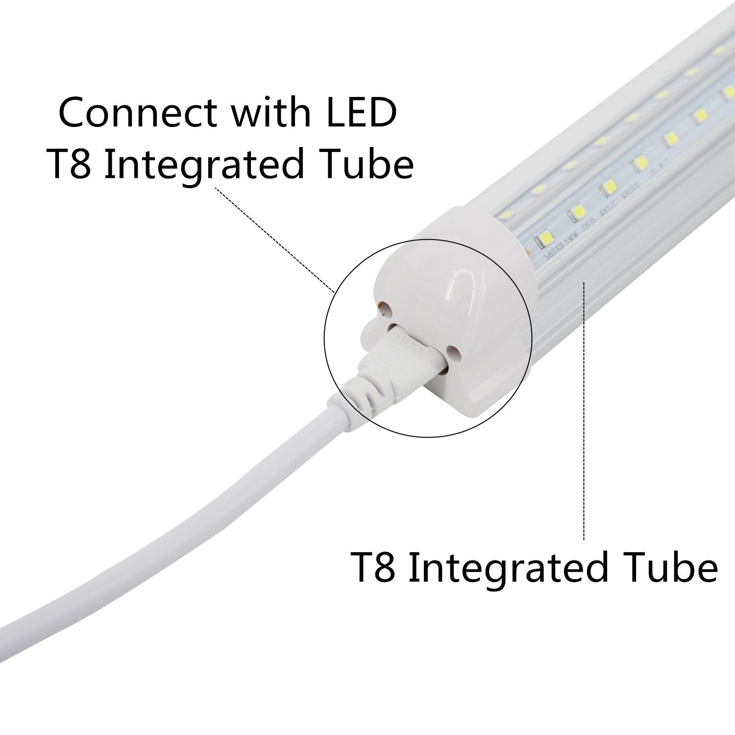 Jesled T5 T8 Double End 3pin Led Tube Connector Cable Wire 2ft Wiring Fluorescent Light Extension Cord For Integrated Bulb