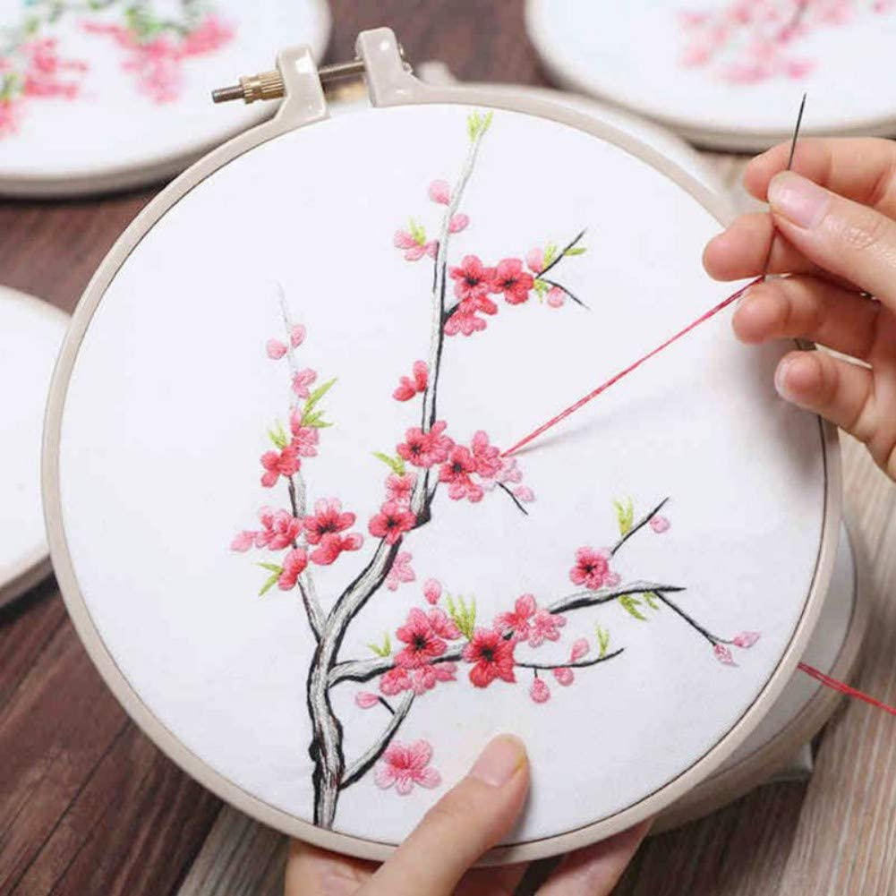 Cross Stitch Tools for Adults and Kids Beginners 100 Colors Threads Yehapp Hand Embroidery Kit DIY Sewing Accessories 2 Pieces Aida Cloth 5 Embroidery Hoops