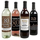 Kitchen & Housewares : Adult 80th Birthday - Gold - Birthday Party Gift for Women and Men - Wine Bottle Label Stickers - Set of 4