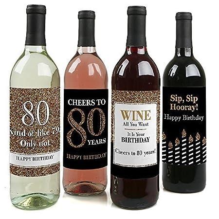 Adulto - oro - botella de vino etiquetas de 80º cumpleaños ...