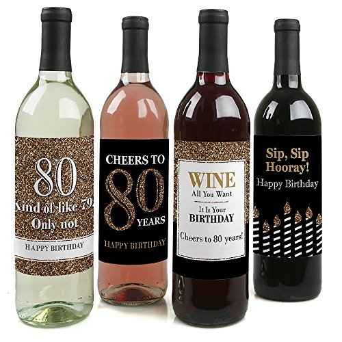 Adult 80th Birthday - Gold - Birthday Party Gift for Women and Men - Wine Bottle Label Stickers - Set of 4