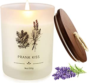 Scented Candle, Aromatherapy Candle for Home Use 9 Ounces 50 Hours Lasting, Gifts for Women Soy Candle with Cotton Wick, Frosted Jar, and Wood Lid, French Cade and Lavender