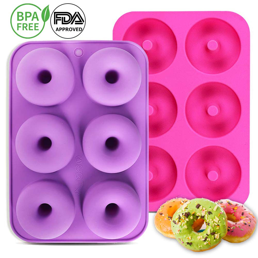 Calnow Donut Mold, 2pcs 6-Cavity Silicone Donut Baking Pan for Making Cakes, Donuts and Bagels