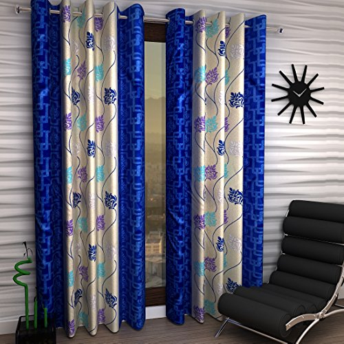 Home Sizzler 2 Piece Eyelet Polyester Window Curtain – 5ft, Blue